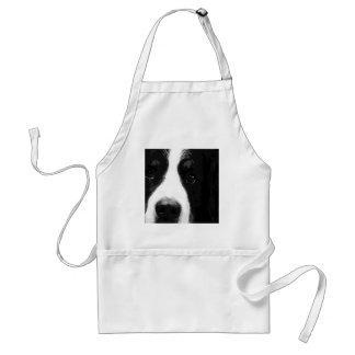 A black and white Bernese mountain dog Standard Apron