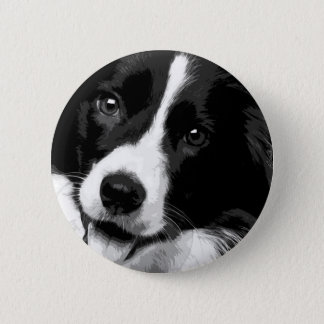 A black and white Border collie 6 Cm Round Badge