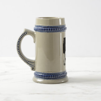 A black and white Border collie Beer Stein