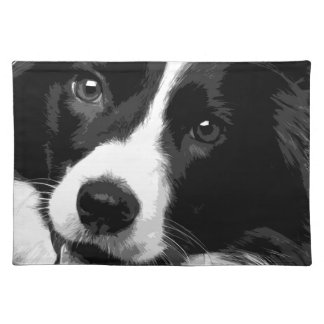 A black and white Border collie Placemat