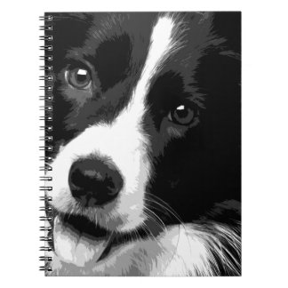 A black and white Border collie Spiral Notebook