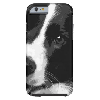 A black and white Border collie Tough iPhone 6 Case