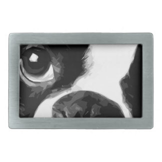 A black and white Boston terrier Belt Buckle