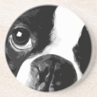 A black and white Boston terrier Coaster