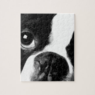 A black and white Boston terrier Jigsaw Puzzle