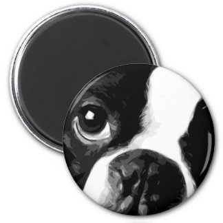 A black and white Boston terrier Magnet