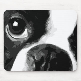 A black and white Boston terrier Mouse Pad