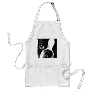 A black and white Boston terrier Standard Apron