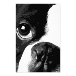 A black and white Boston terrier Stationery