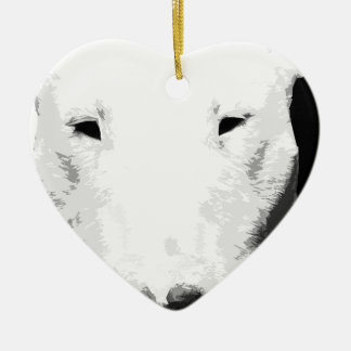 A black and white Bull terrier Ceramic Ornament