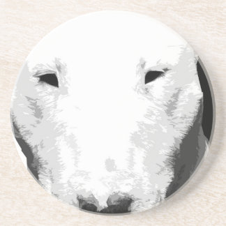 A black and white Bull terrier Coaster