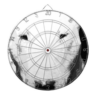 A black and white Bull terrier Dartboard