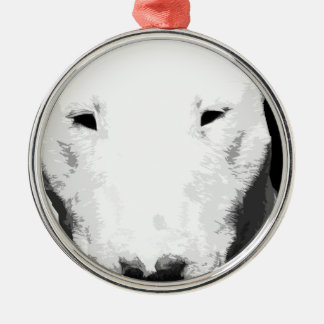 A black and white Bull terrier Metal Ornament