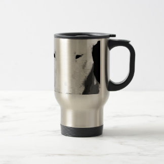 A black and white Bull terrier Travel Mug