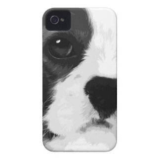 A black and white Cavalier king charles spaniel Case-Mate iPhone 4 Case
