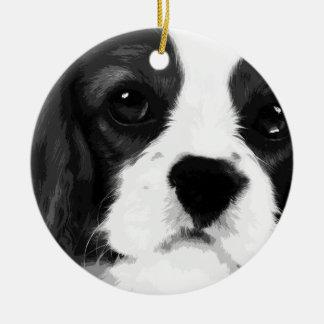A black and white Cavalier king charles spaniel Ceramic Ornament