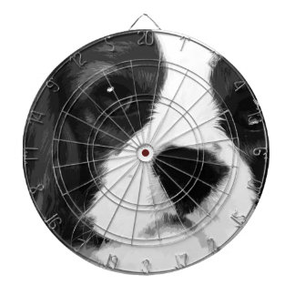 A black and white Cavalier king charles spaniel Dartboard