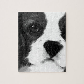 A black and white Cavalier king charles spaniel Jigsaw Puzzle