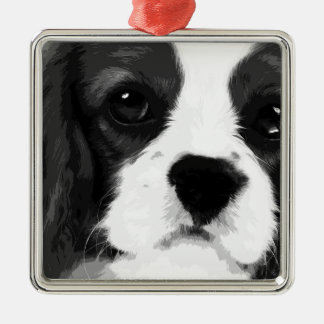 A black and white Cavalier king charles spaniel Metal Ornament