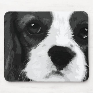 A black and white Cavalier king charles spaniel Mouse Pad