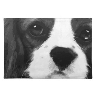 A black and white Cavalier king charles spaniel Placemat