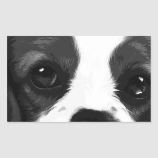 A black and white Cavalier king charles spaniel Rectangular Sticker