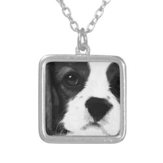 A black and white Cavalier king charles spaniel Silver Plated Necklace