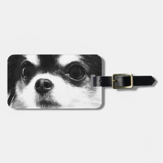 A black and white Chihuahua Luggage Tag