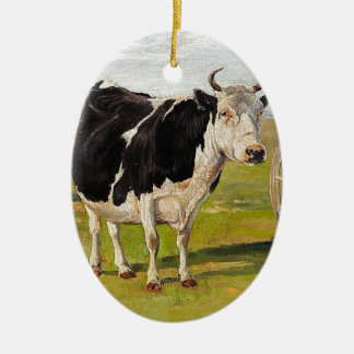 A black-and-white cow by Theodor Philipsen Ceramic Oval Decoration