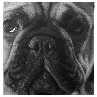A black and white French bulldog Napkin