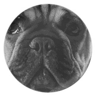 A black and white French bulldog Plate