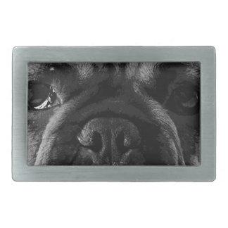 A black and white French bulldog Rectangular Belt Buckles