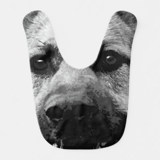A black and white German Shepherd Dog Bib