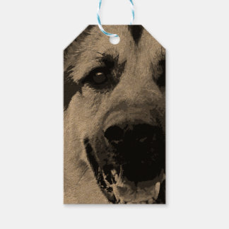 A black and white German Shepherd Dog Gift Tags
