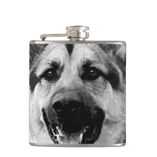 A black and white German Shepherd Dog Hip Flask