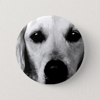 A black and white Golden retriever 6 Cm Round Badge