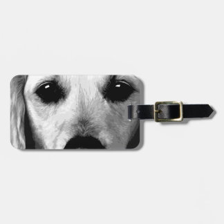 A black and white Golden retriever Luggage Tag