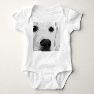 A black and white Labrador retriever Baby Bodysuit