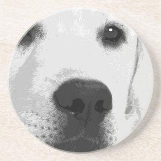 A black and white Labrador retriever Coaster