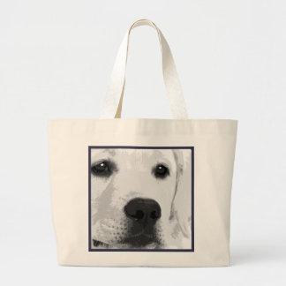 A black and white Labrador retriever Large Tote Bag