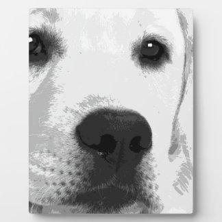 A black and white Labrador retriever Plaque