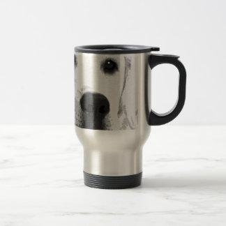 A black and white Labrador retriever Travel Mug