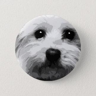 A black and white Maltese 6 Cm Round Badge