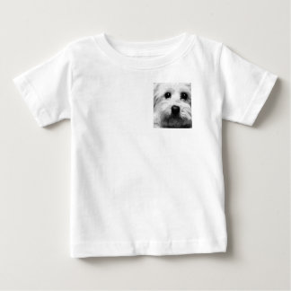 A black and white Maltese Baby T-Shirt