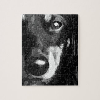 A black and white Miniature Dachshund Jigsaw Puzzle