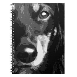 A black and white Miniature Dachshund Notebook
