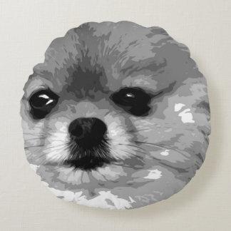 A black and white Pomeranian Round Cushion