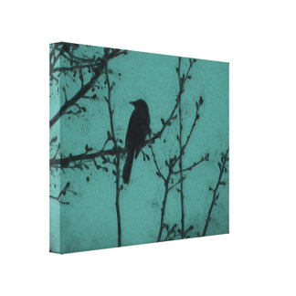 A Black Bird on a Branch with a Teal Background Canvas Print