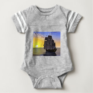 A Black Corvette Sailing Ship and the Setting Sun Baby Bodysuit