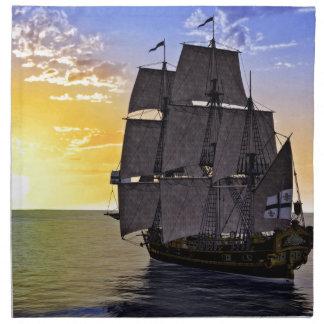 A Black Corvette Sailing Ship and the Setting Sun Napkin